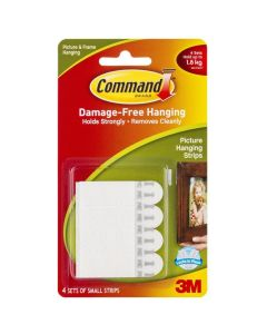 Command Adhesive Strips 17202 Small Removable 3M Pk4