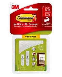Adhesive Command Strips Value 4 small 8 medium
