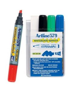 Artline 579 Chisel Tip Whiteboard Marker Assorted Pk4