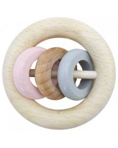 Rattle Round 3 Rings Natural Pink