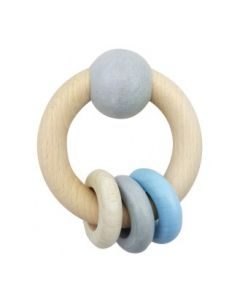 Rattle Round With Ball and 3 Rings Natural Blue