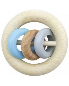 Rattle Round 3 Rings Natural Blue