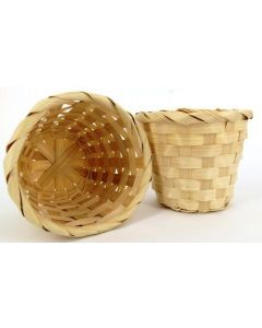 Small 8cm Round Bamboo Baskets Natural Pack of 4