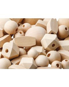 Beads Wooden Natural Assorted Pk92