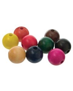 Beads Wooden 25mm Assorted Pk100