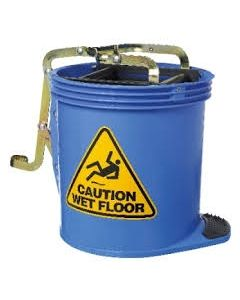 Mop Bucket Roller Plastic with castors 16 Litres - Blue