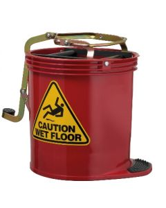 Mop Bucket Roller Plastic with castors 16 Litres - Red