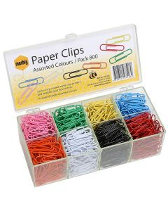 Paper Clips Plastic Coated Assorted Colours 33mm Pk800