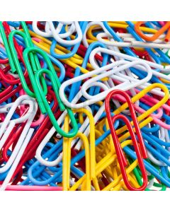 Paper Clips Plastic Coated Assorted Colours Pk300