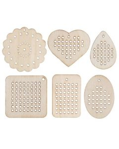 Wooden Threading Shapes Assorted Pack of 30