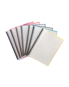 Display Book A4 Clear Front  Assorted Coloured Back