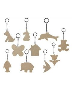 Key Chain Wooden Assorted Pk10
