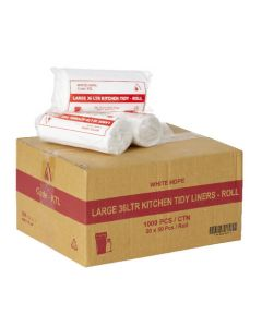 Kitchen Tidy Liners 36L White Ctn1,000- 20 rolls of 50