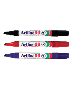 Artline 90 Permanent Chisel Tip Marker 2.5mm - Blue Box 12
