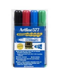 Artline 577 Bullet Tip Whiteboard Marker Assorted Pk4