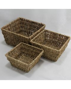 Square Seagrass Trays Natural Set of 3