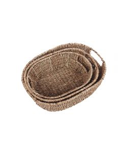 Oval Seagrass Trays with Inset Handles Natural Set of 3