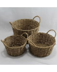 Round Seagrass Trays With Handles Set of 3