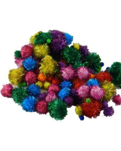 Pom Poms Glitter Assorted sizes and Colours pk200