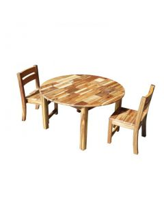 Acacia Large Round Table with 2 Stacking Chairs