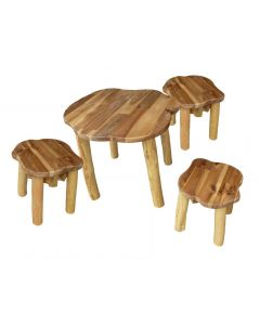 Hardwood Tree Table and 3 Stools
