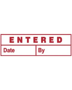 Deskmate Stamp - Entred/Date/By Red