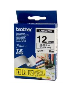 Brother Labelling Tape TZE-231 Blk on White 12mmx8m