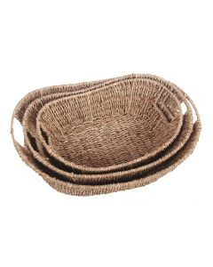 Boat Shape Seagrass Tray with Inset Handles Natural Set of 3