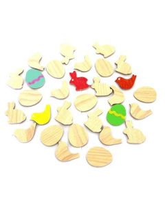 Adhesive Wood Embellishment Easter Pack of 30