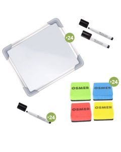 Whiteboard Kit with Black Connector Markers and Mini Erasers Set of 24