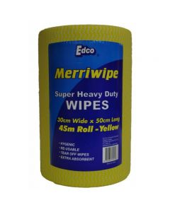 Heavy Duty Wipes Roll 45m Perforated 50x30cm Yellow